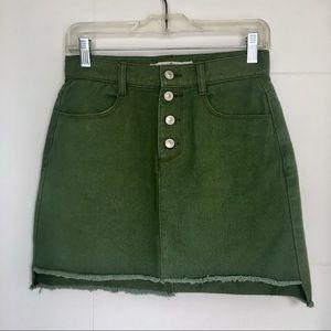 Dresses & Skirts - Olive Green Denim Button Fly Skirt